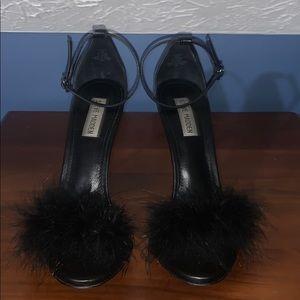 Black furry Steve Madden heels/sandals